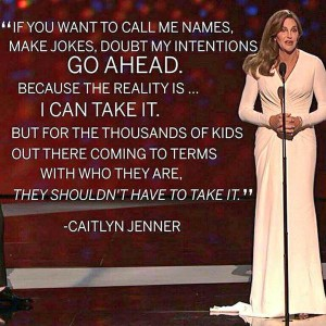Caitlyn Jenner accepting her award for courage